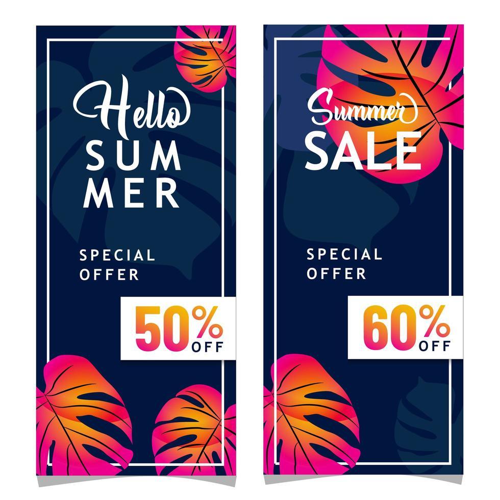 banner di vendita impostato per l'estate vettore