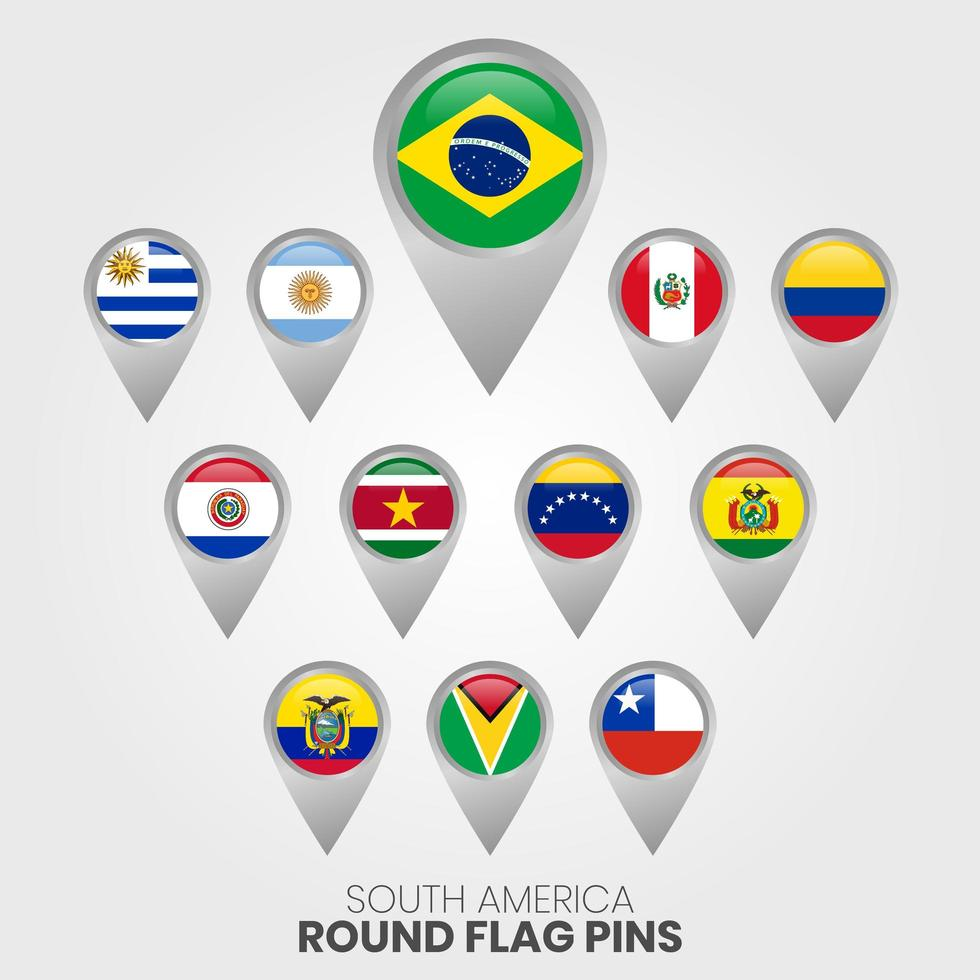 banderas de américa del sur con punteros de mapa vector