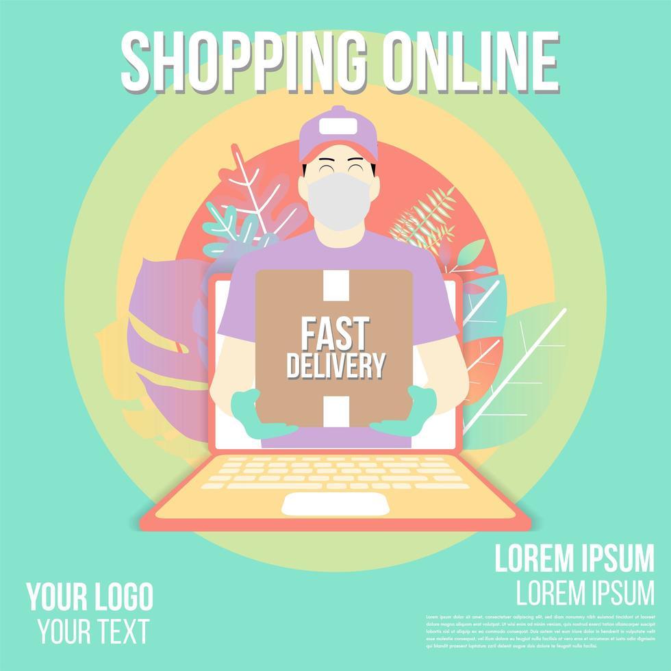 diseño de entrega rápida de compras en línea vector
