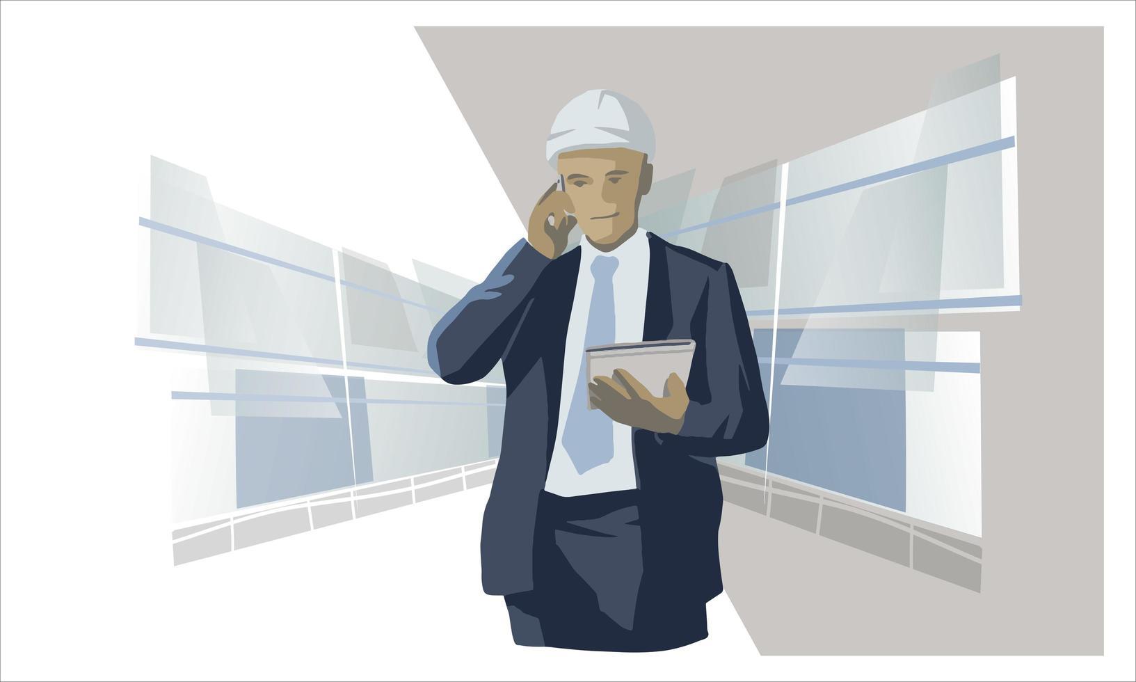 empresario con casco blanco vector