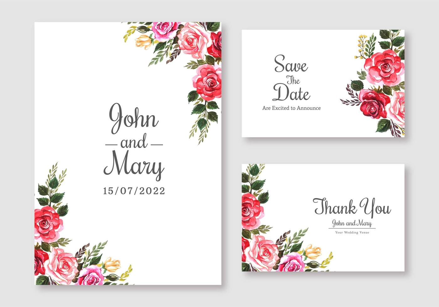 colorful floral wedding cards set 1041338 vector art at