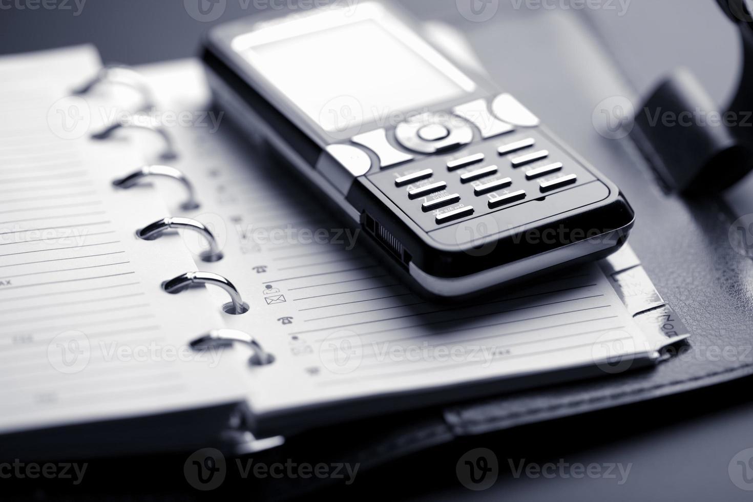 organizador y teléfono móvil foto