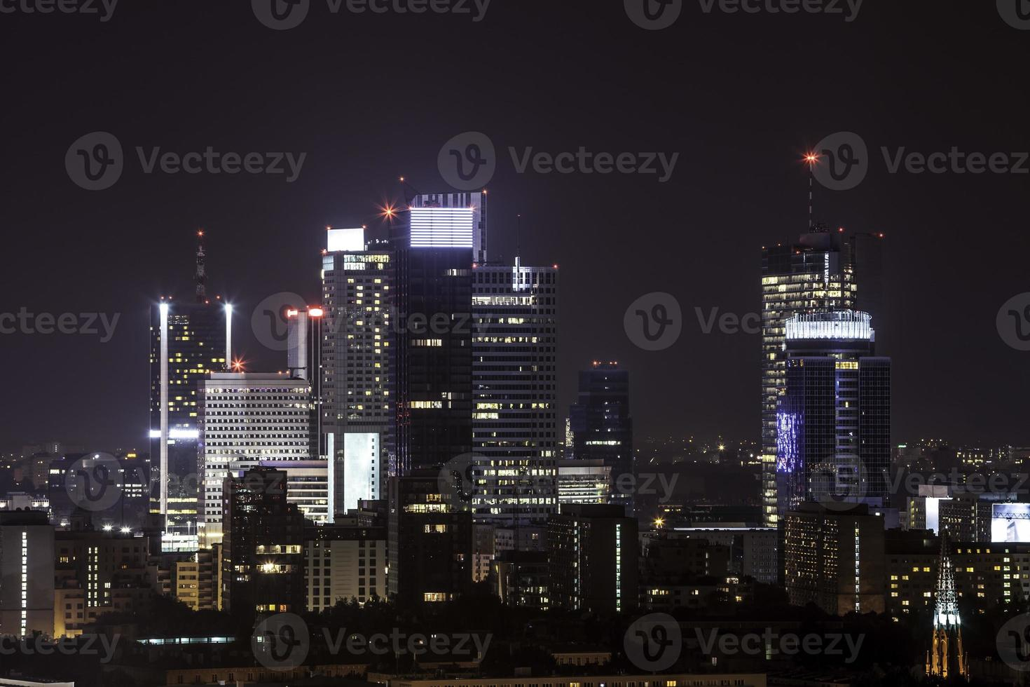 Warsaw business center by night photo