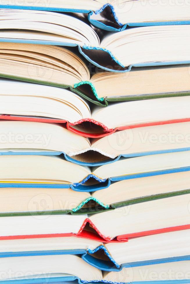 Stack of open books photo