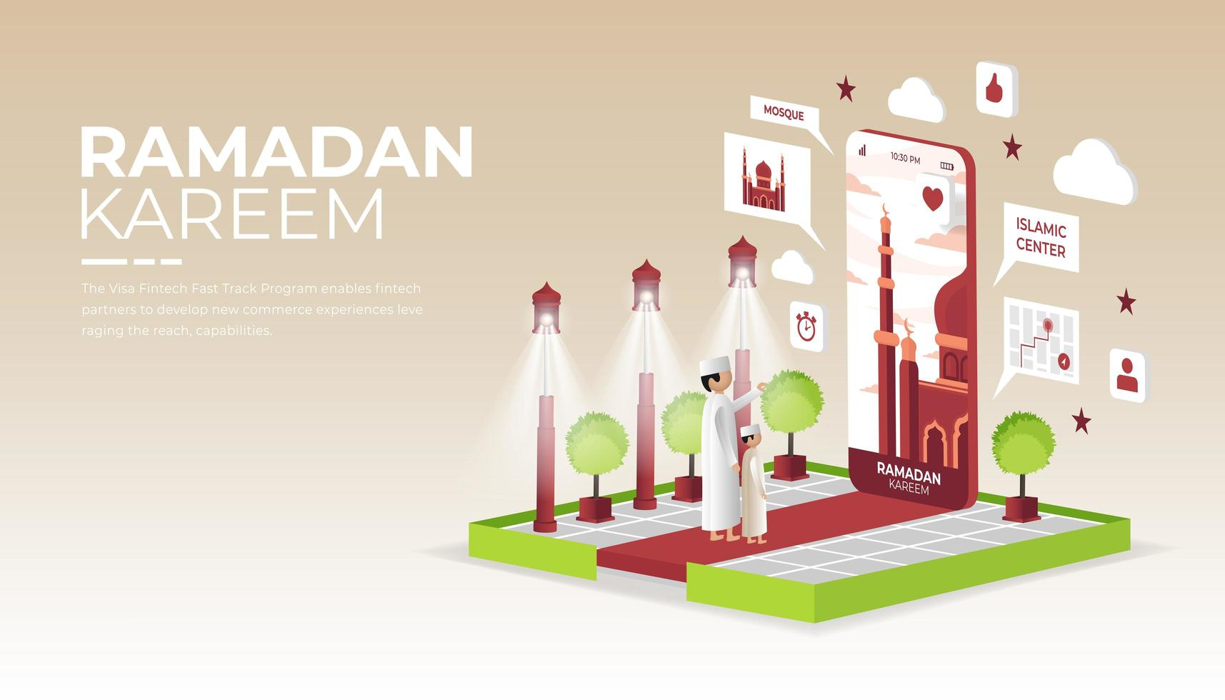 People using mobile app to find nearest mosque vector