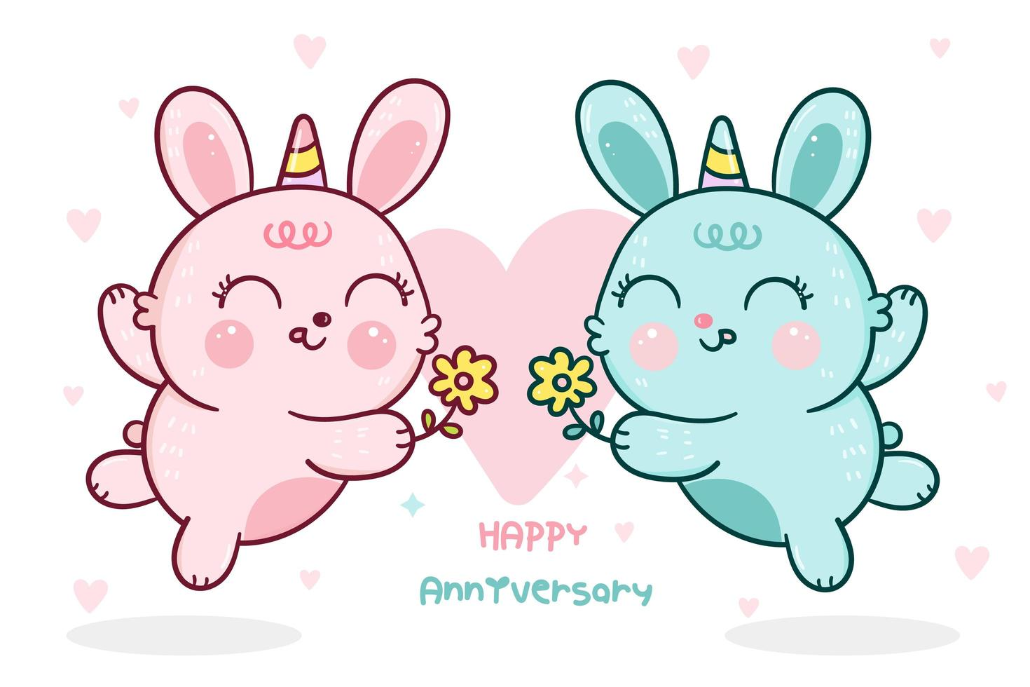 Rabbits with horns giving flowers for anniversary vector