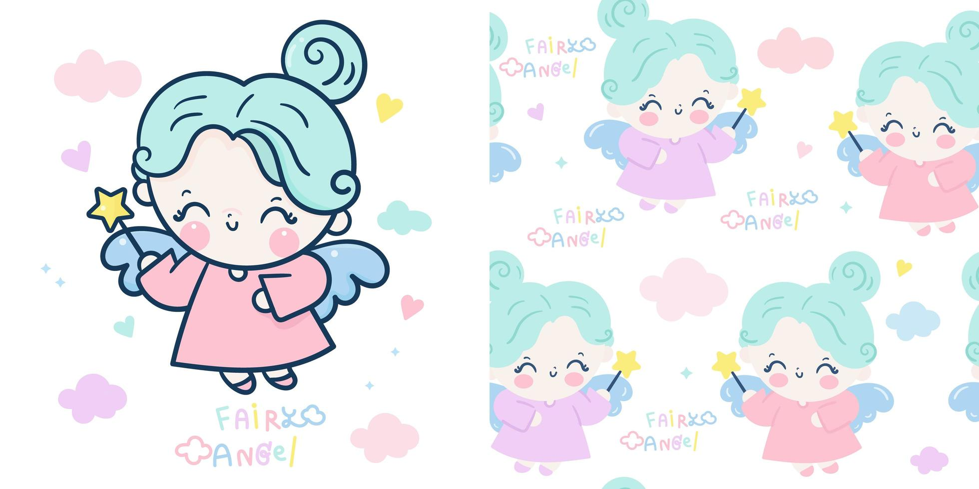 Angel fairy character and seamless pattern vector