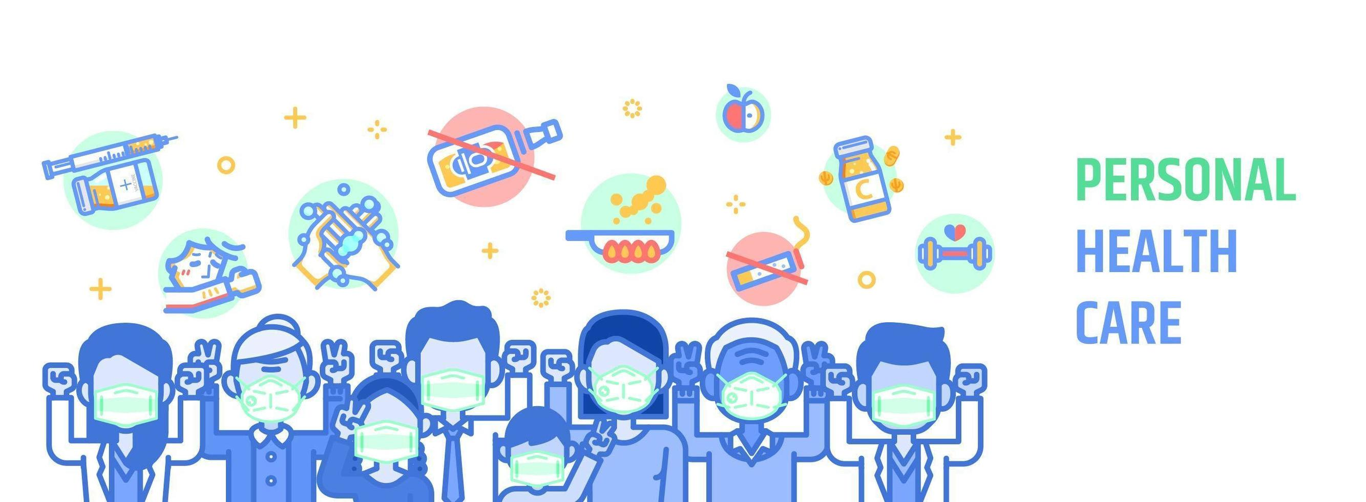 Health Care Banner With People Wearing Medical Masks Download Free Vectors Clipart Graphics Vector Art