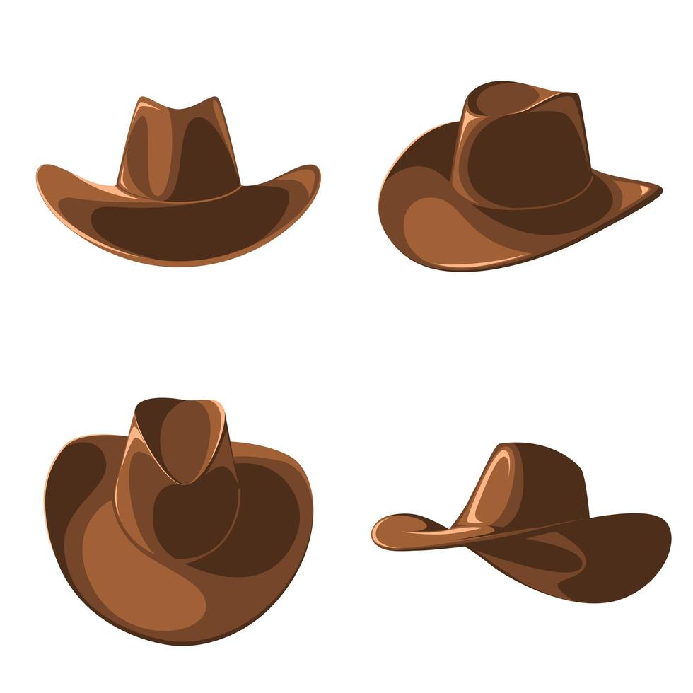 Set of cartoon style cowboy hats vector