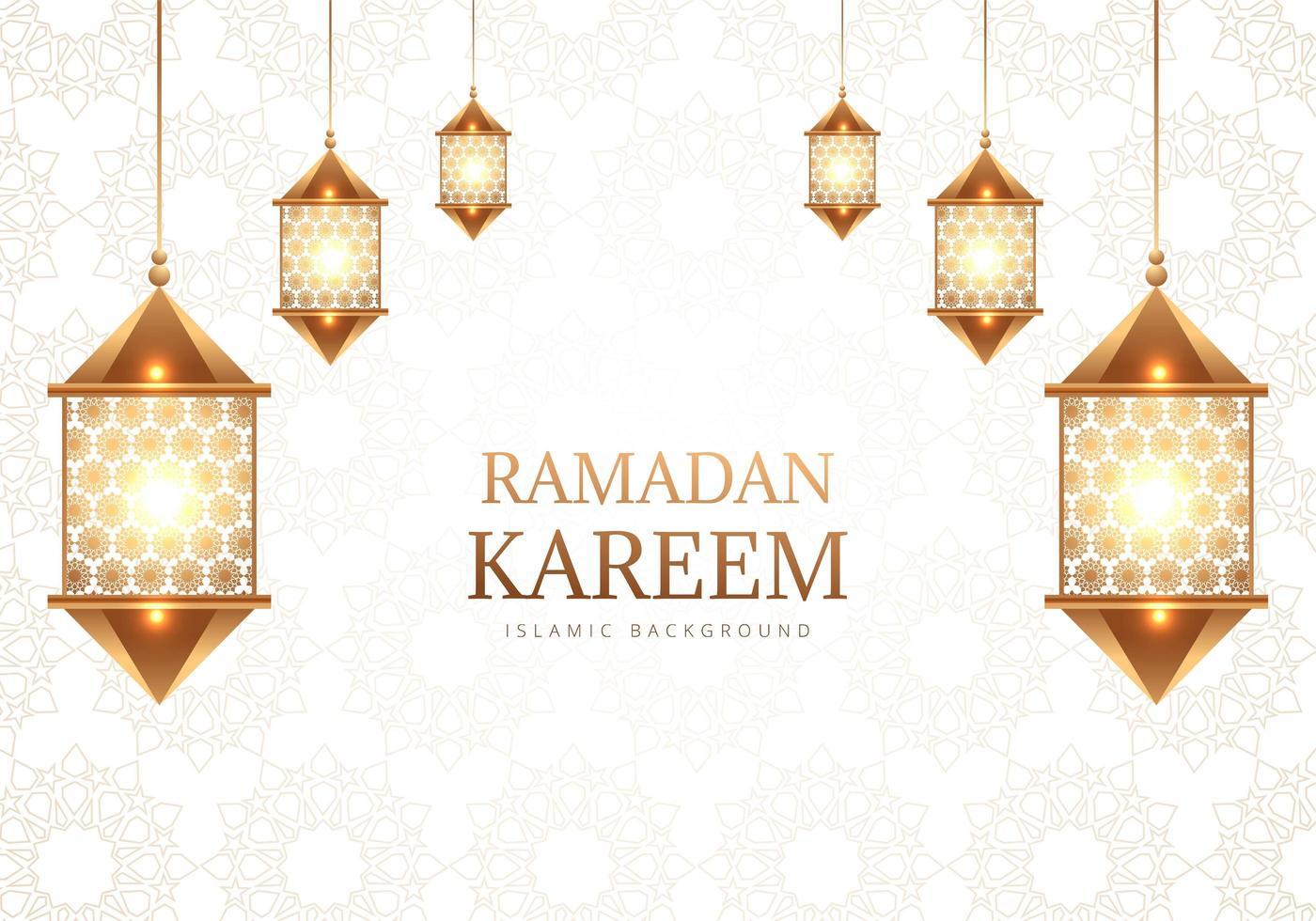 lámparas decorativas árabes ramadan kareem en patrón blanco vector