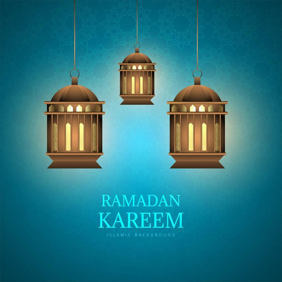 Tarjeta de Ramadán Kareem con linternas en patrón azul vector