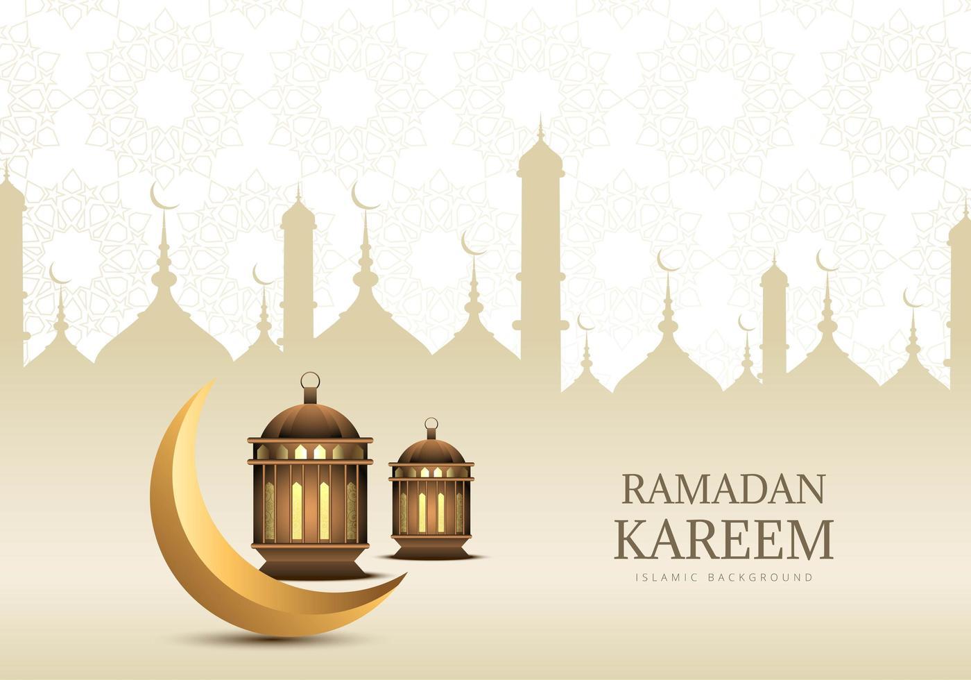 diseño dorado del ramadán con luna creciente y linternas vector
