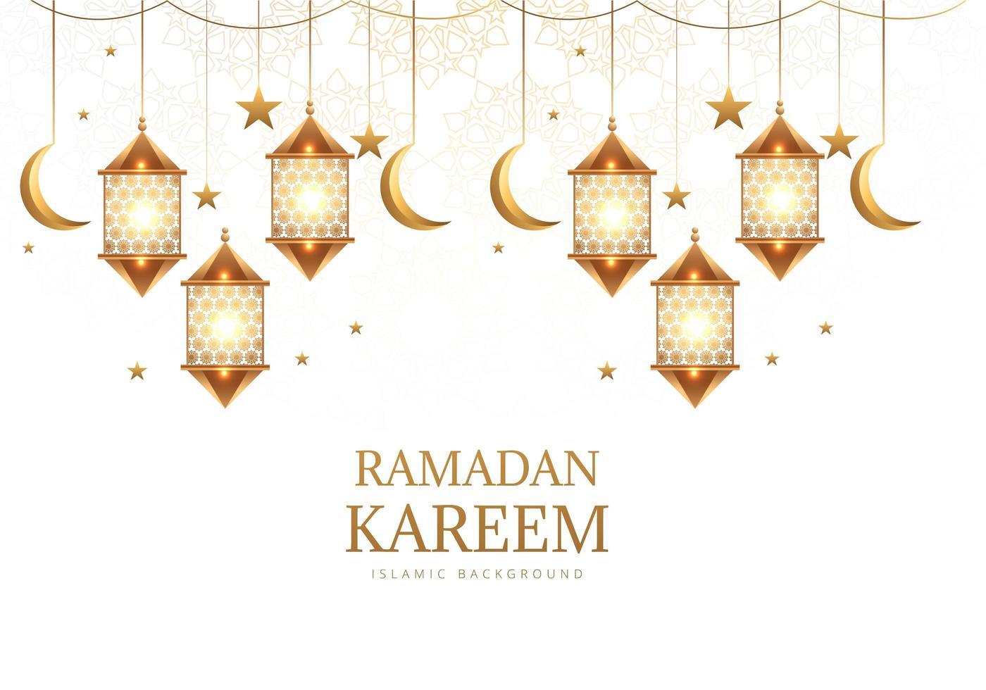 linterna colgante de oro árabe, lunas y estrellas vector