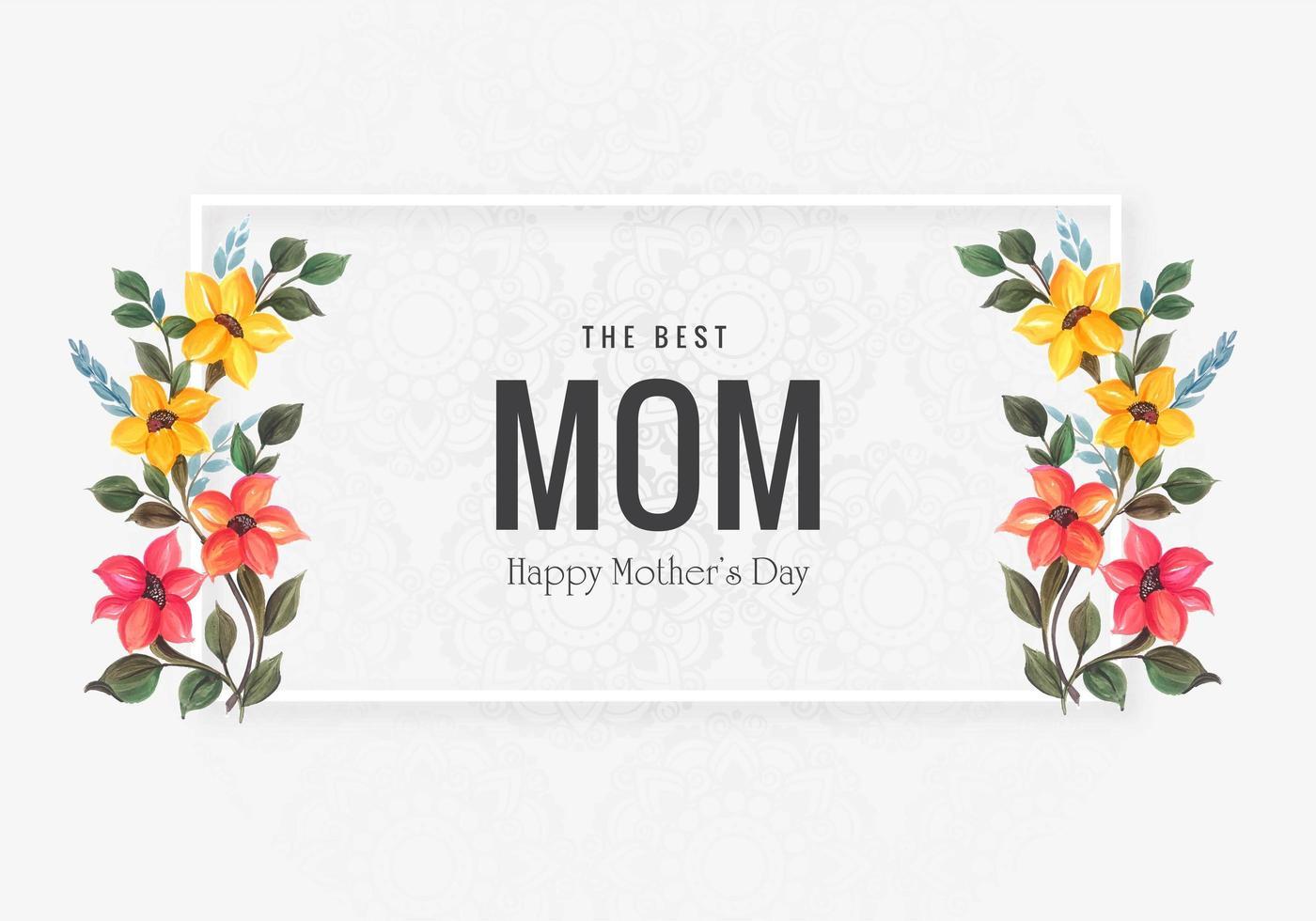 feliz tarjeta del día de la madre con flores decorativas vector