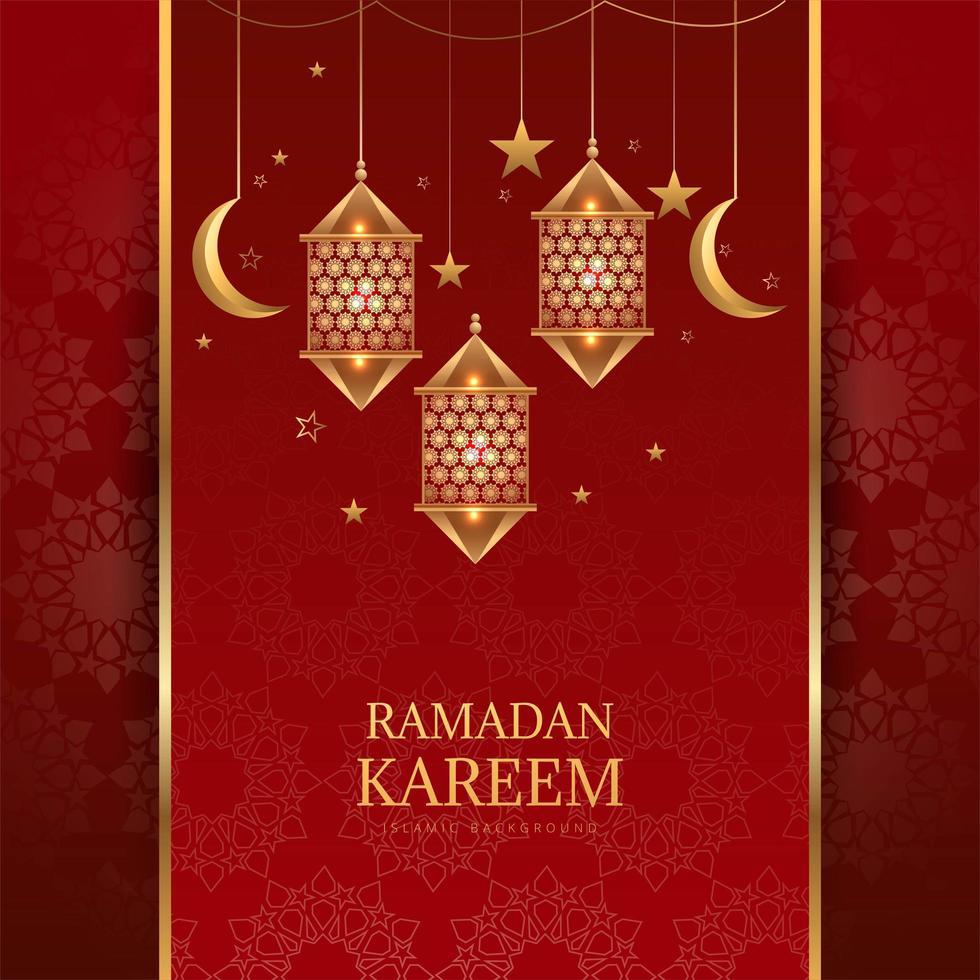 Linterna colgante dorada árabe, luna y estrellas en rojo vector