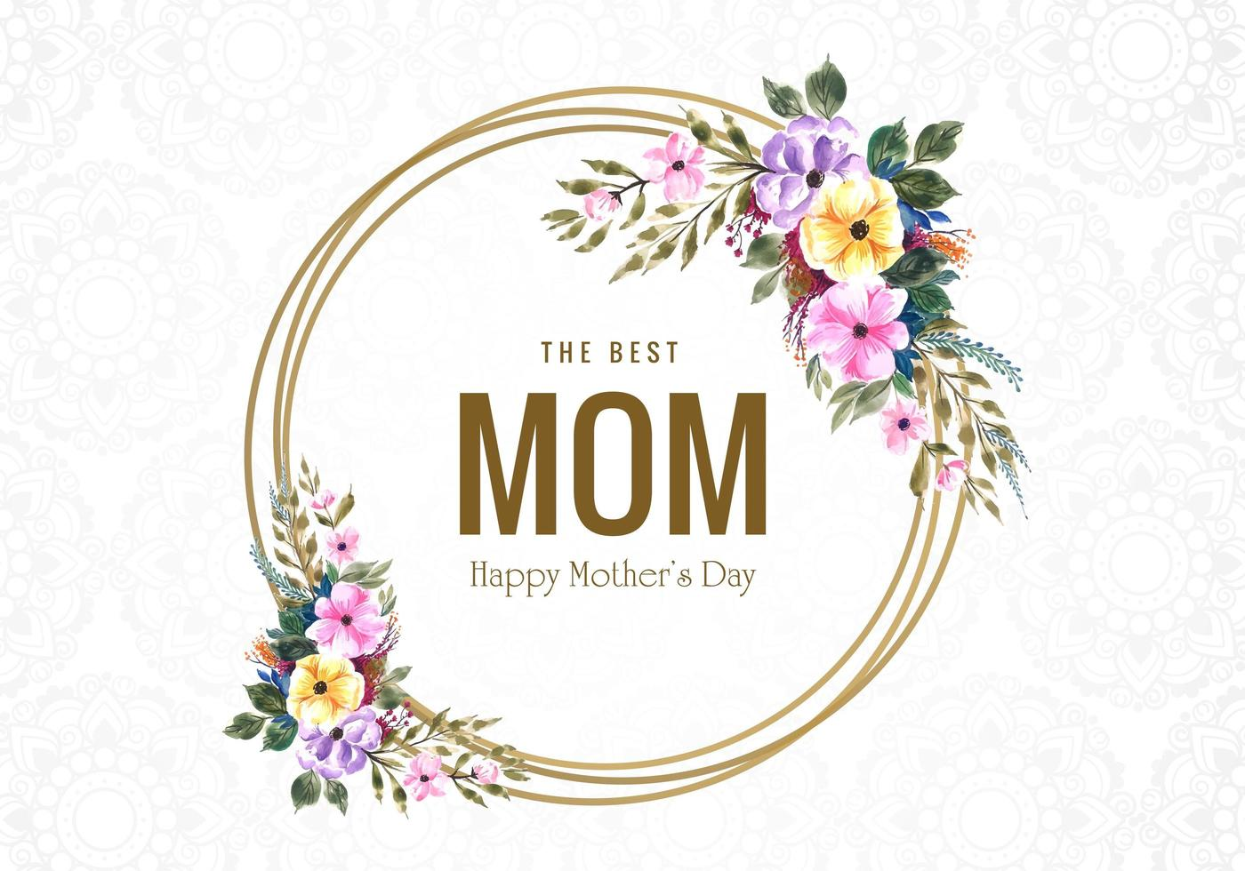 Happy Mother's Day flowers and circle frame card vector
