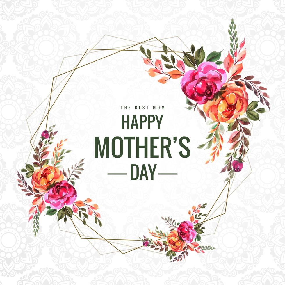 Happy Mother's Day flowers and geometric frame card vector