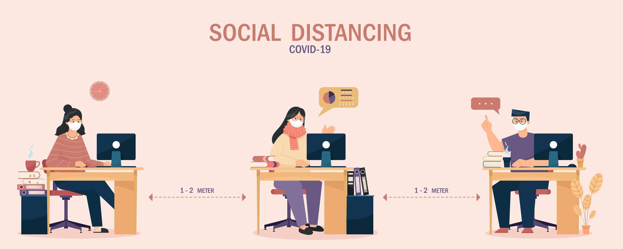 gente trabajadora distanciamiento social para prevenir covid-19 vector