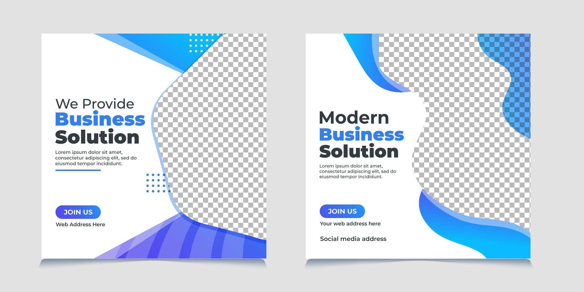 Blue wavy corporate social media post template set vector