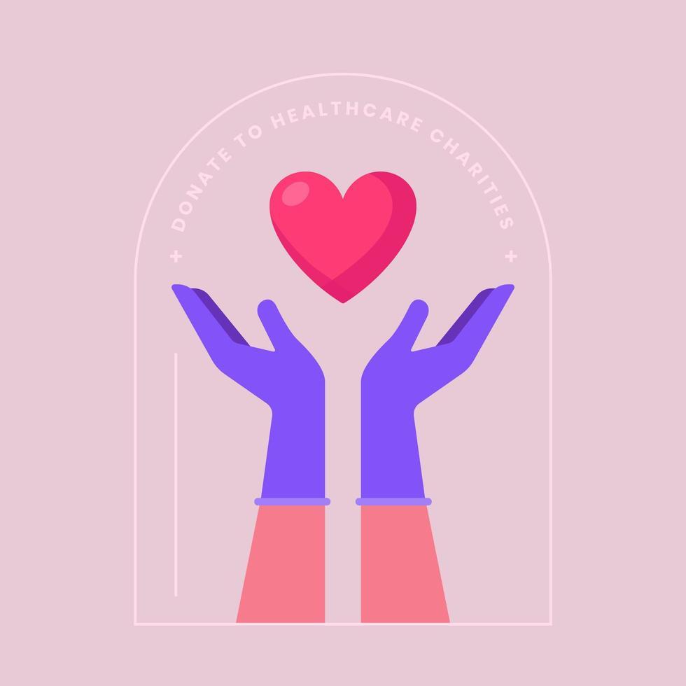 etiqueta de caridad de salud corazón en manos vector