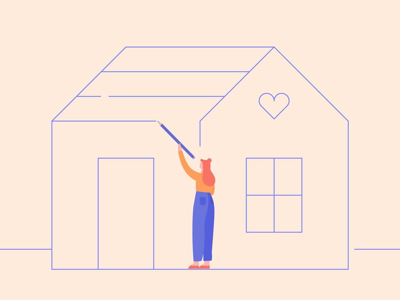 donna che disegna la sua casa vettore