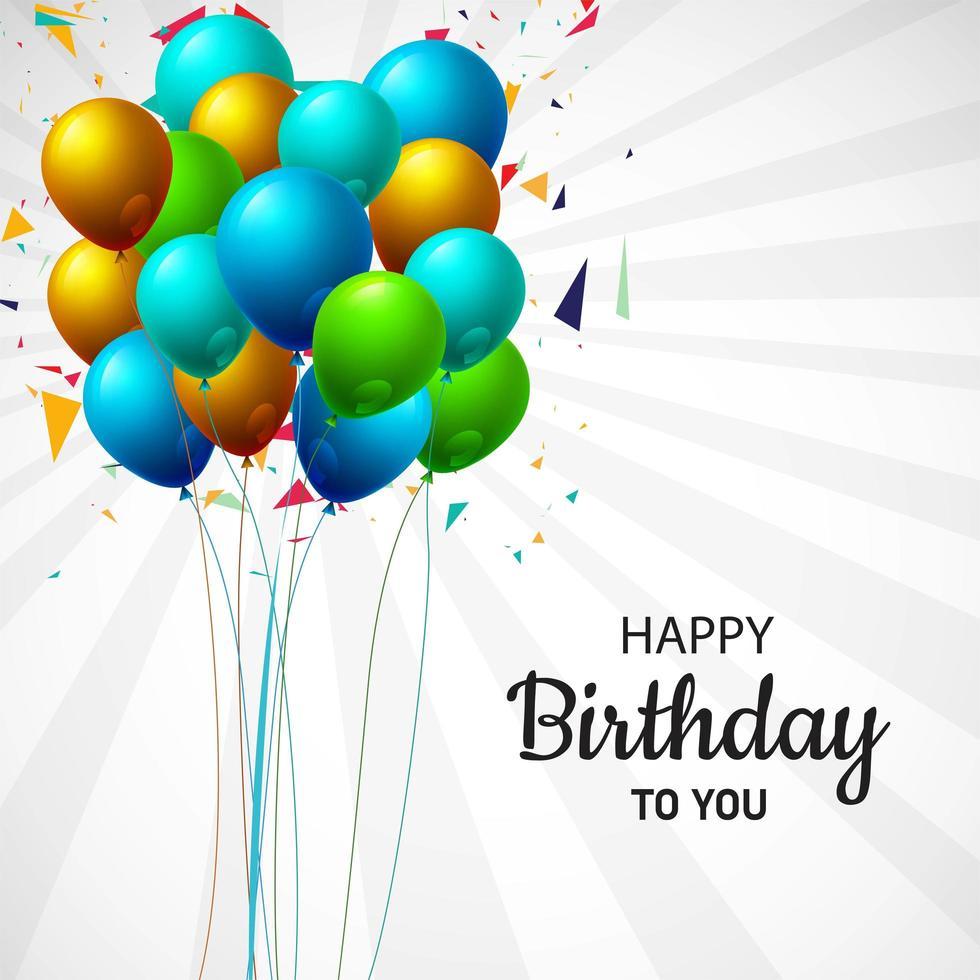 feliz cumpleaños globo montón fondo vector