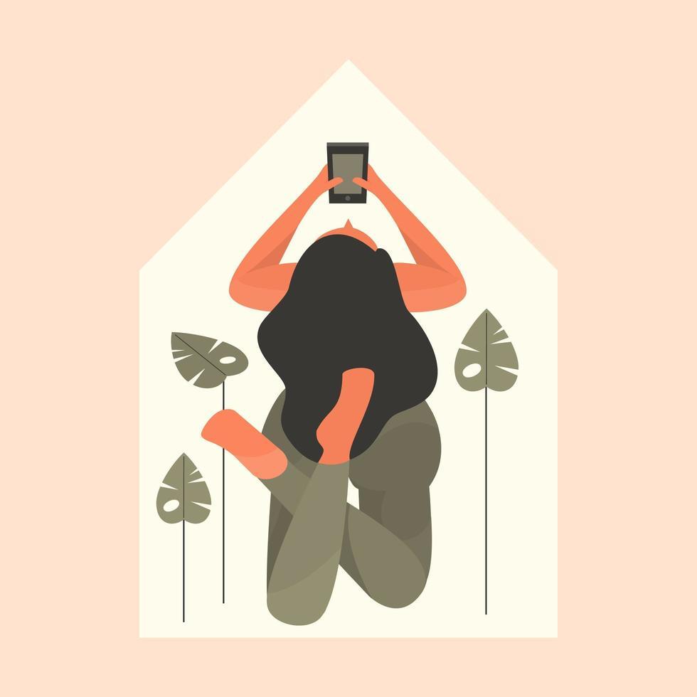 mulher deitada no chão em casa vetor