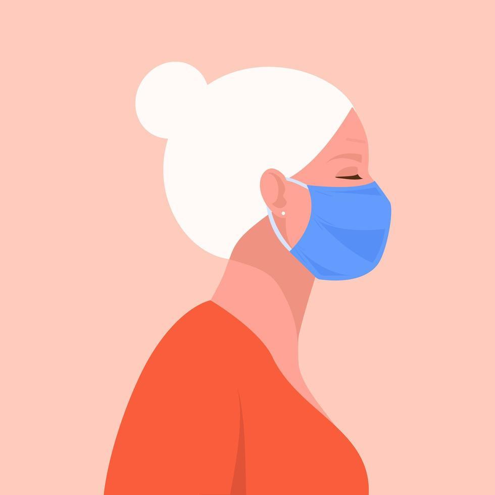mulher sênior usando máscara facial médica descartável vetor