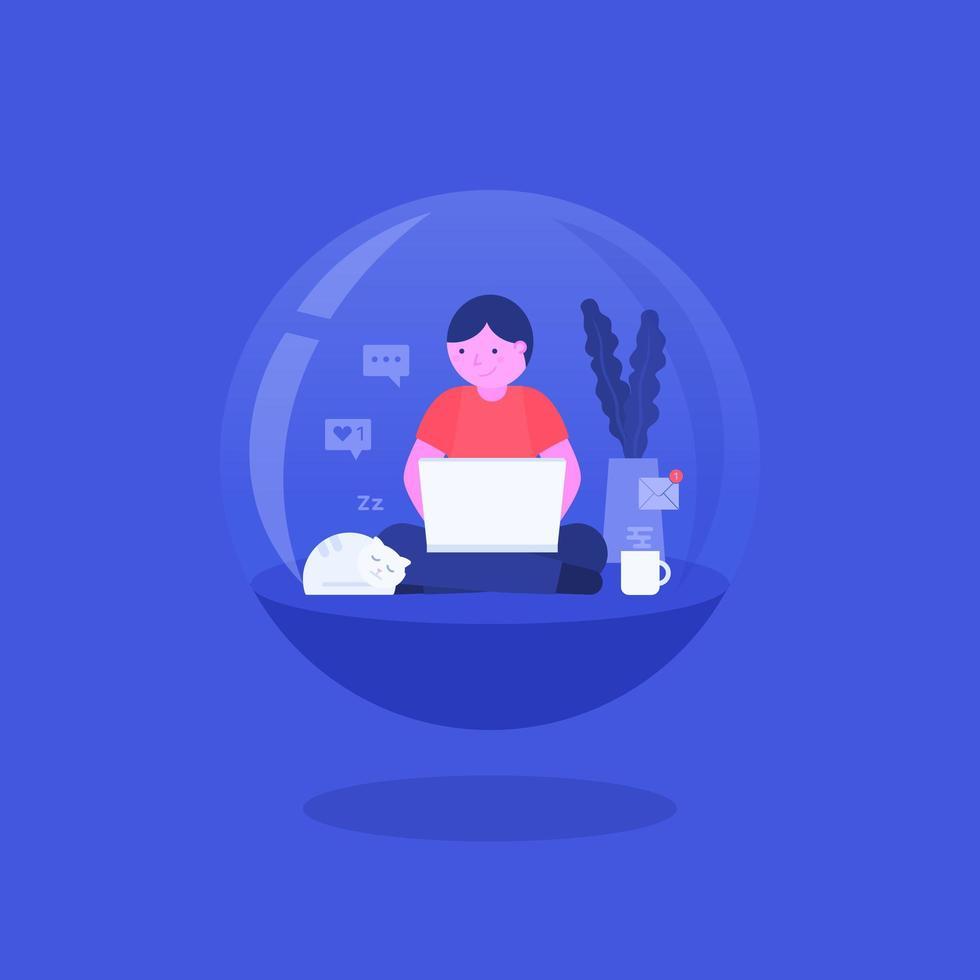 niño sentado con laptop aislado en bola de cristal vector