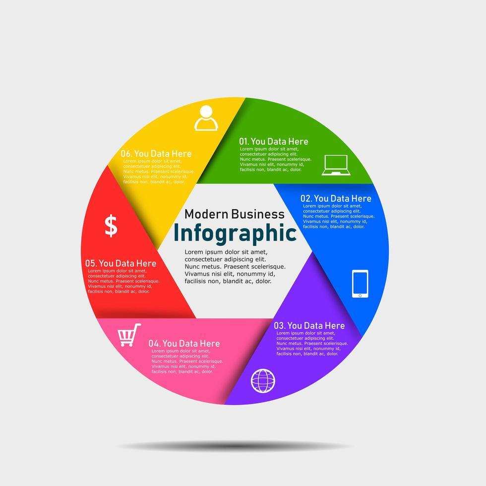 gráfico de infográfico de negócios circular colorido vetor