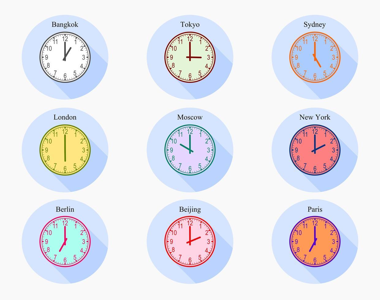 conjunto de relojes analógicos de zona horaria mundial vector