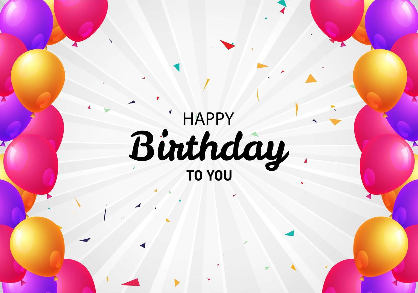 Banner de cumpleaños de borde de globo rosa y oro púrpura vector