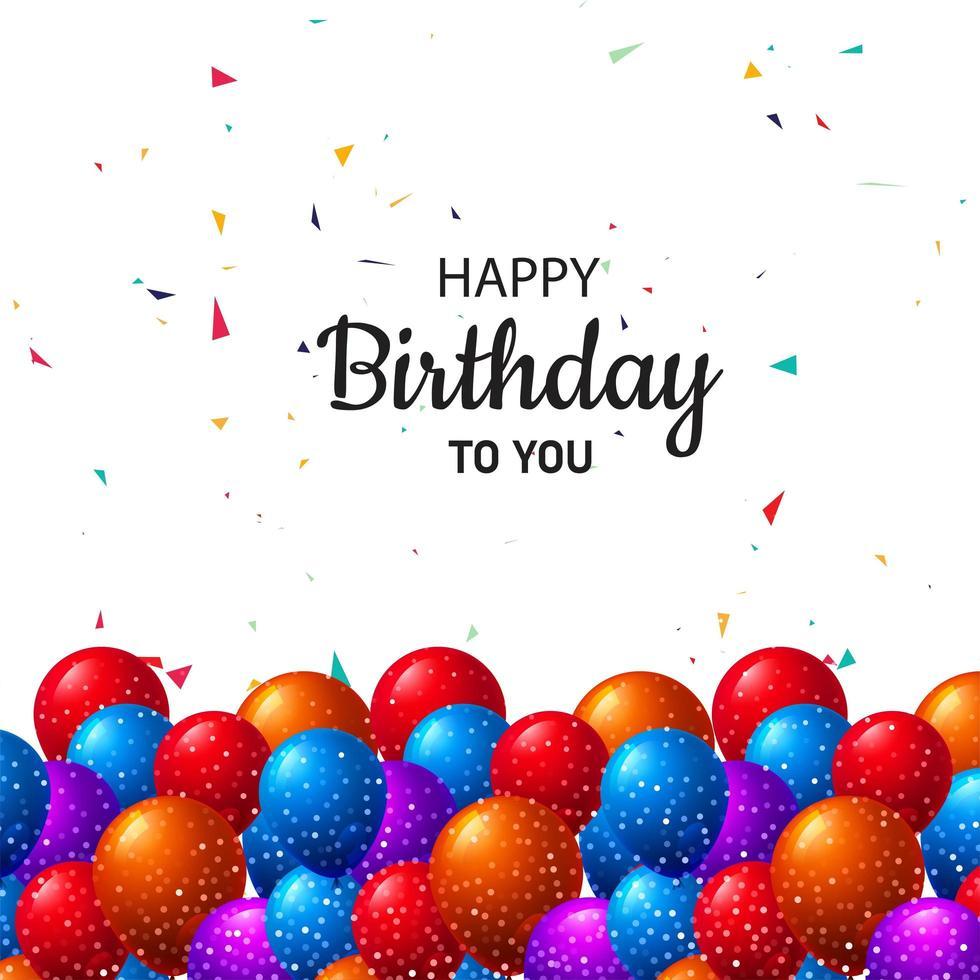 plantilla de tarjeta de cumpleaños con globos y brillo vector