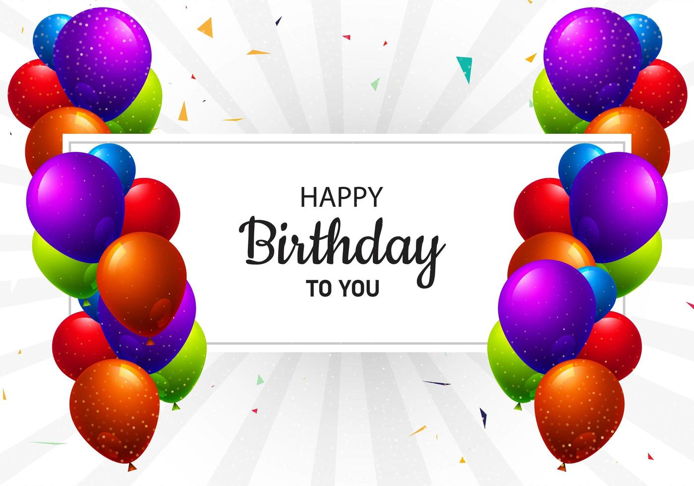 Multicolored Birthday Balloons and Text Frame vector