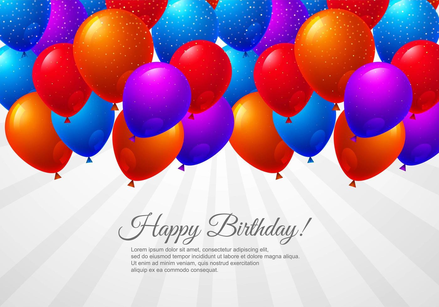 Globos de cumpleaños sobre fondo de celebración sunburst vector