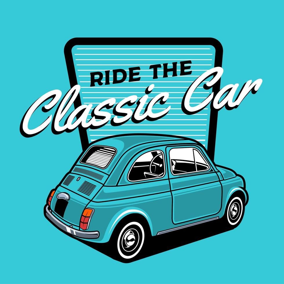 Small blue classic car design vector