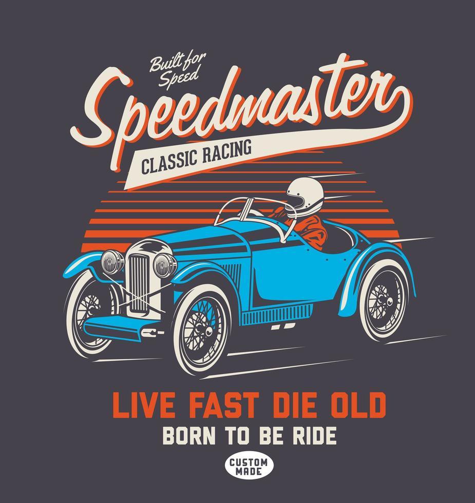 coche de carreras azul clásico y tipografía vector