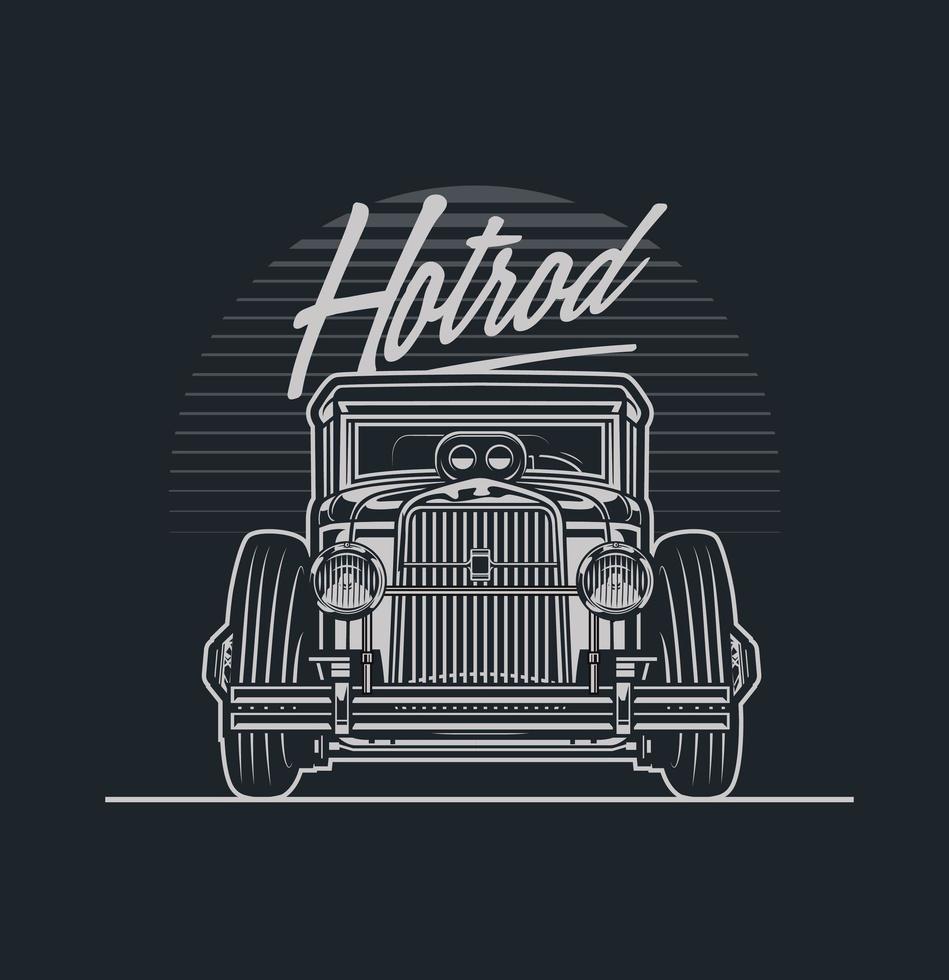 design de carro hotrod em escala de cinza vetor