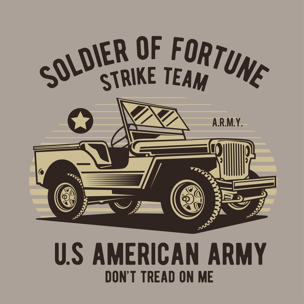 design retro com veículo do exército vintage vetor