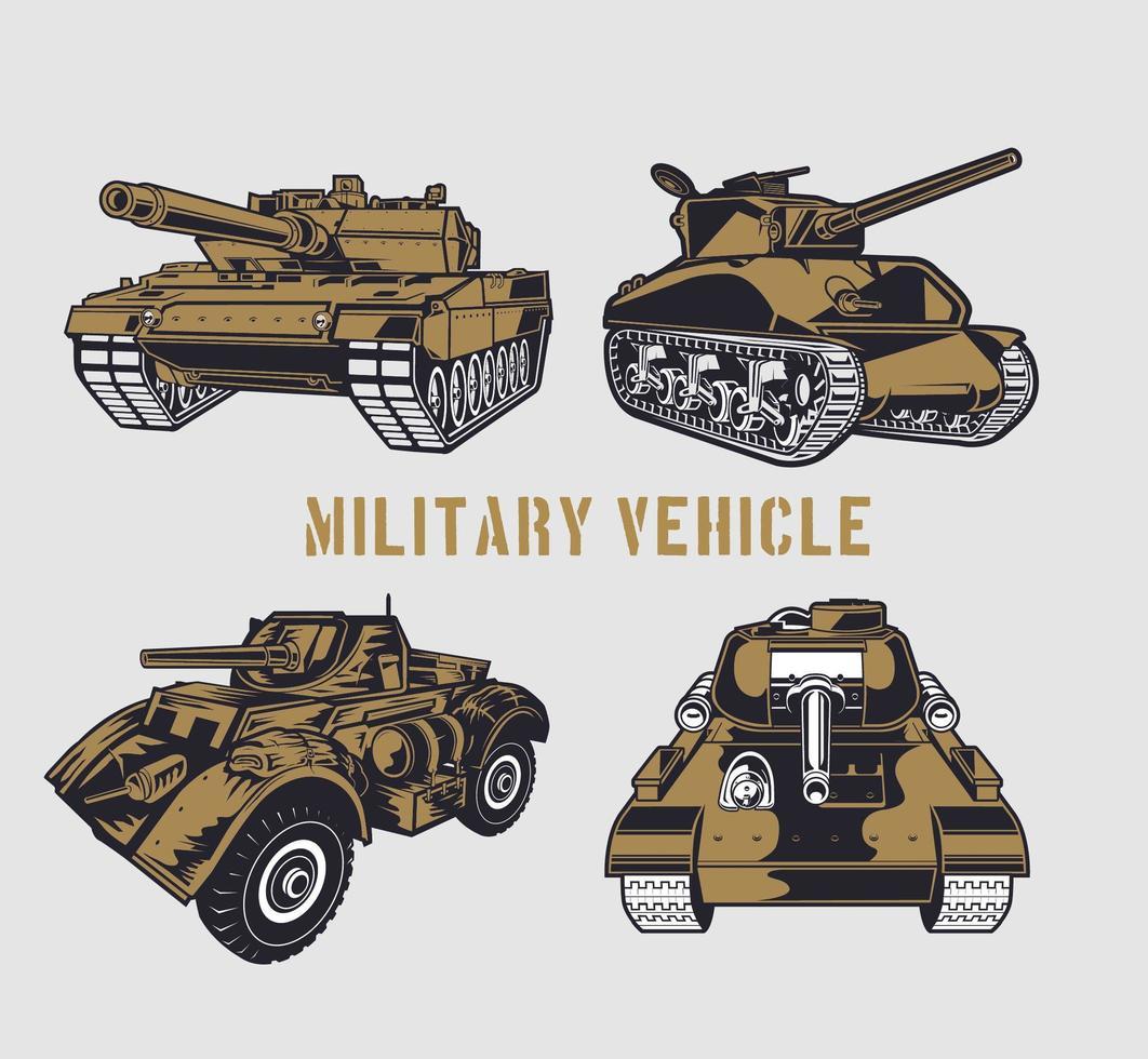 Brown military tank set vector