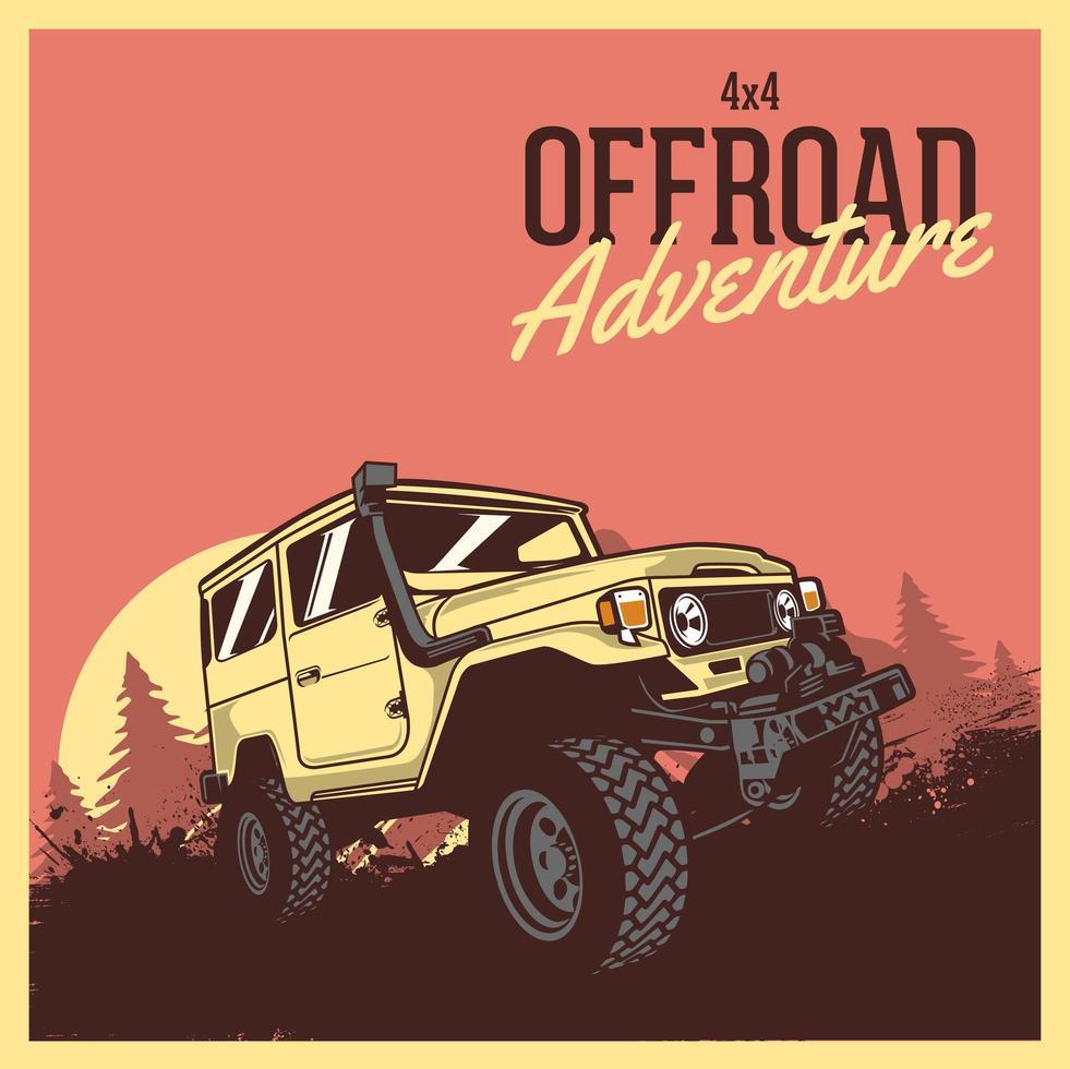 cartel de vehículo de aventura todoterreno vector