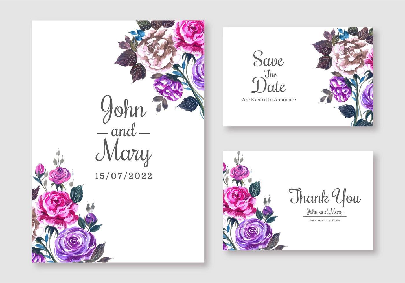 Elegant Purple and  Pink Floral Wedding Card Set  vector