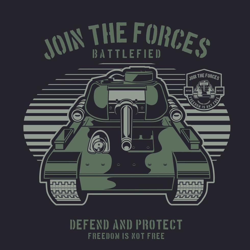 tanque de guerra verde sobre fundo escuro vetor