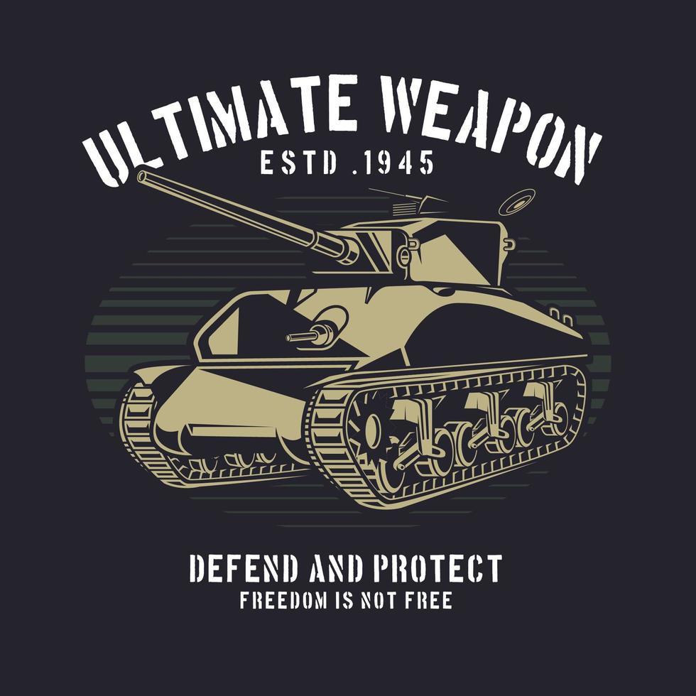 design retro do tanque de guerra vetor