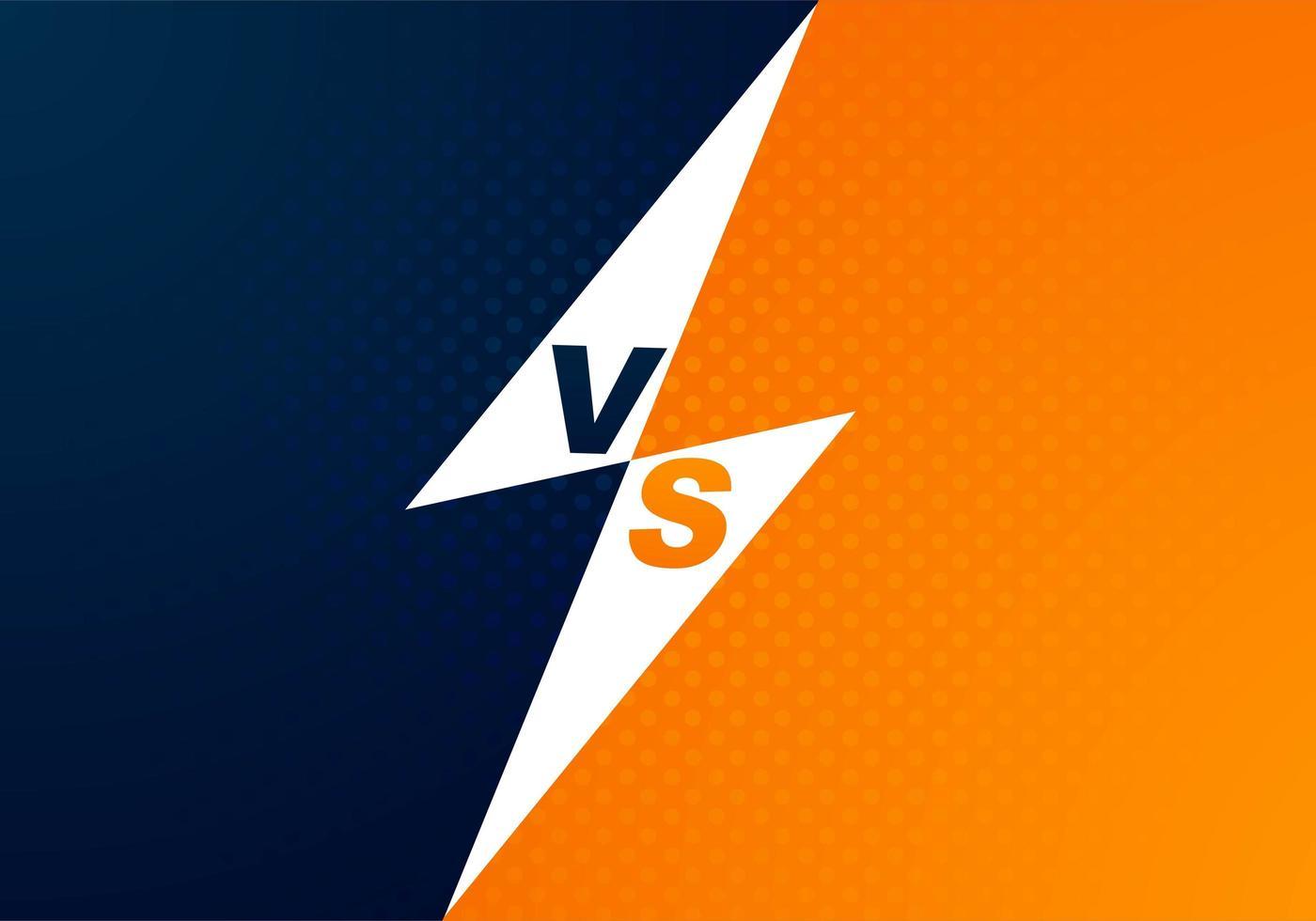 versus fondo azul y naranja de pantalla vector