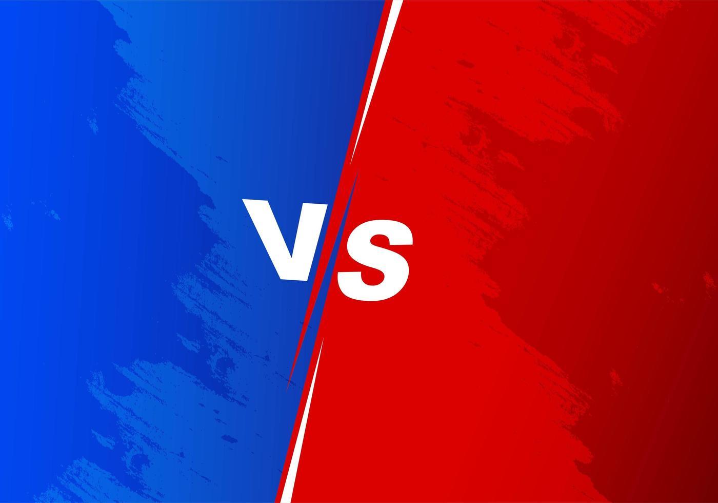 azul e vermelho versus tela dividida vetor