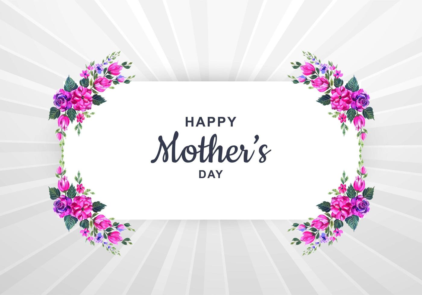 Mother's Day card with watercolor floral frame vector