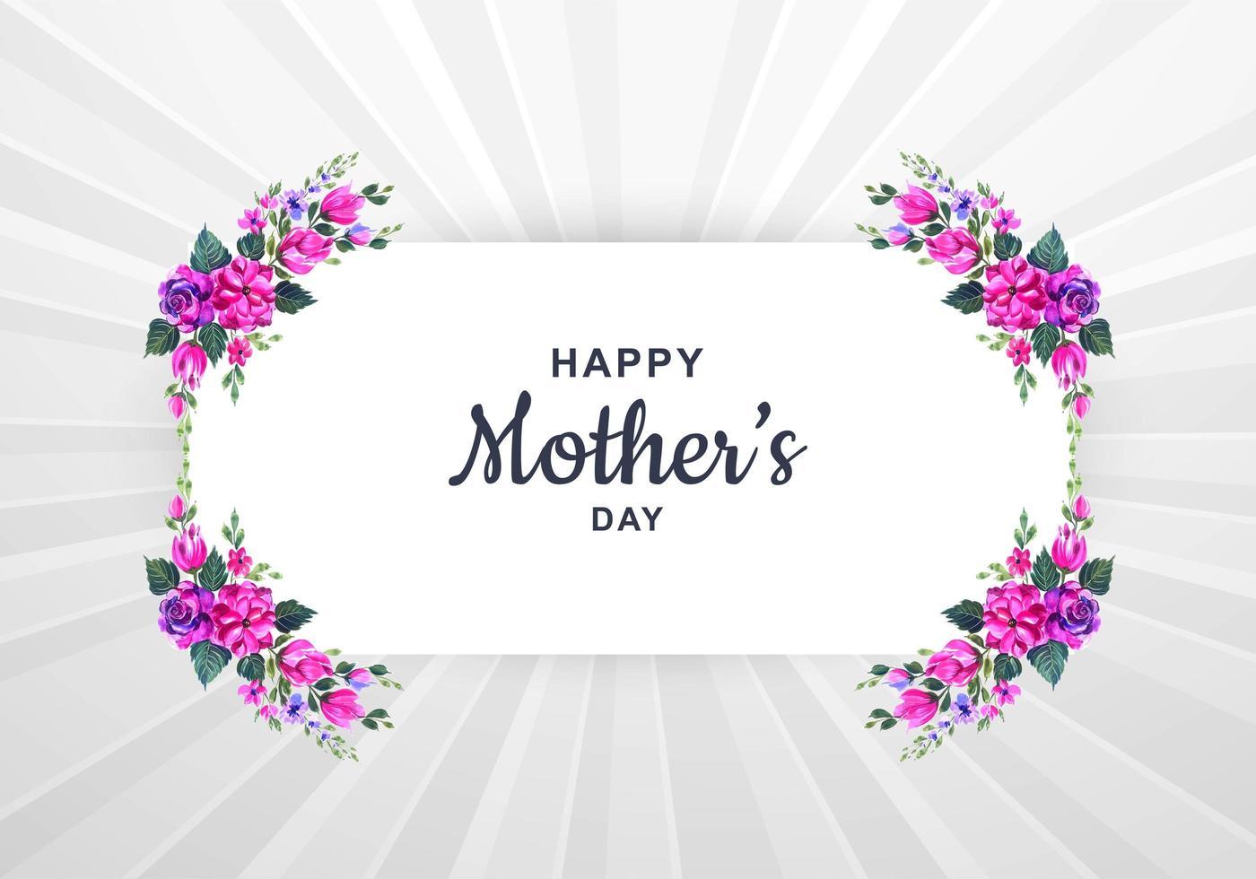 cartão de dia das mães com moldura floral aquarela vetor