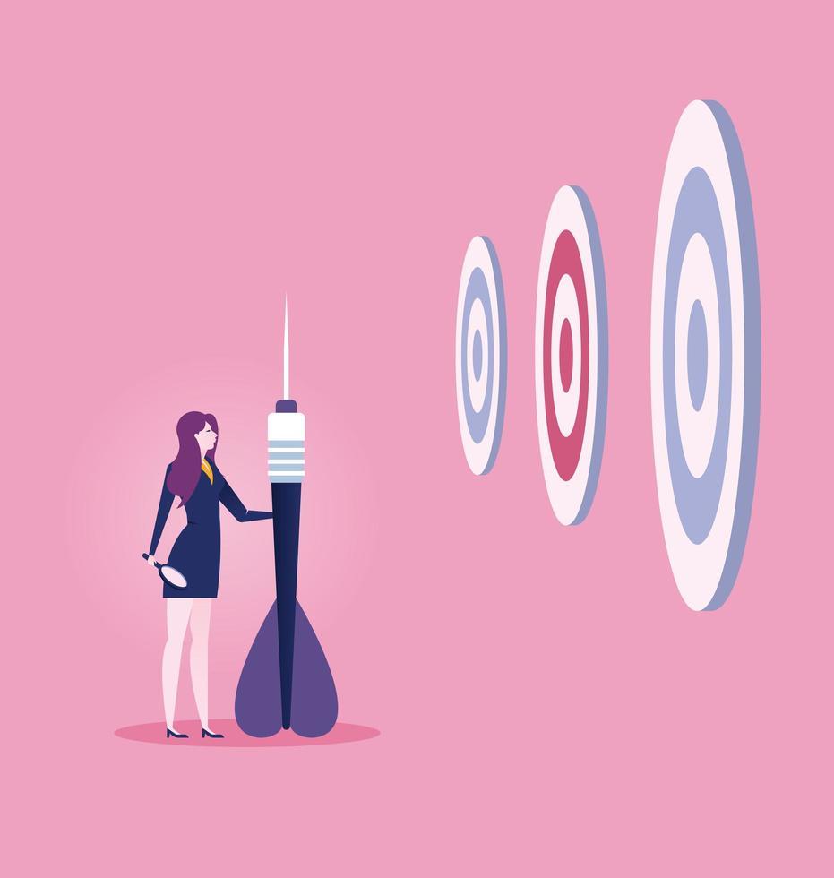 mujer de negocios con gran dardo mirando objetivos vector