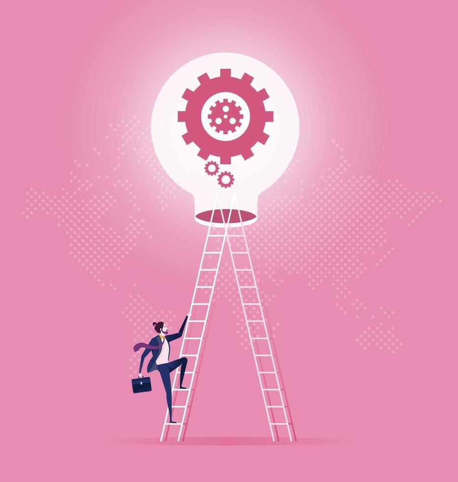 Business man climbs up ladder to light bulb vector
